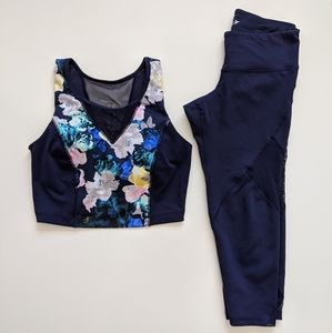 Old Navy floral two piece cropped athletic set